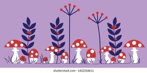 Mushroom Forest Herb Border Design. Fly-agarics Row. Amanitas Pattern. Row Mushroom.