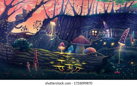 Mushroom garden with wild animals in summer magic forest landscape, cats, turtles, fantasy trees, sunset vector season illustration with grass, flowers, foliage, autumn beautiful colors.