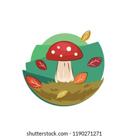 Mushroom, grass, falling leaves abstract illustration