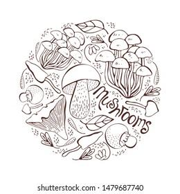 Mushroom hand drawn vector illustration. Set Isolated sketch food drawing into a circle. Mushrooms, morels, truffles, porcini mushrooms, oysters, honey agar, chanterelles, organic vegetarian product.