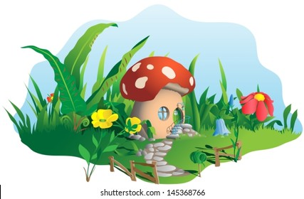 mushroom house in the middle of the nature near flowers and other plants. Vector illustration