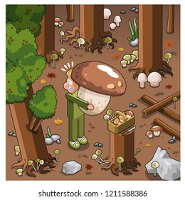 Mushroom hunter carrying huge mushroom in a dark forest (vector illustration)