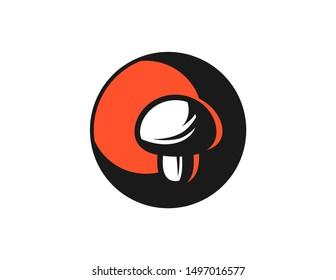 Mushroom logo design vector. mushroom silhouette symbol design. mushroom line art vector