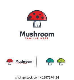 Mushroom logo designs vector, Cute Mushroom logo