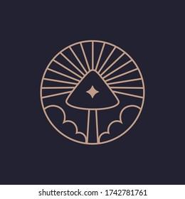 Mushroom logo farm organic design. Fungi medicine agriculture symbol design.