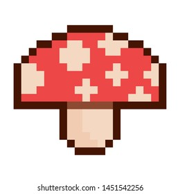 Mushroom Pixel art 8 bit object. Pink fashion digital game. Pastel icons girly sticker. Vintage assets.