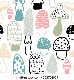 Mushroom seamless pattern. Vector modern doodle background.Great looks on kids textile.