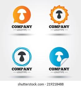 Mushroom sign icon. Boletus mushroom symbol. Business abstract circle logos. Icon in speech bubble, wreath. Vector