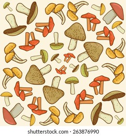 Mushroom vector background pattern