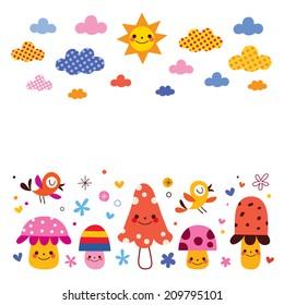 mushrooms, birds, clouds sun kids background illustration