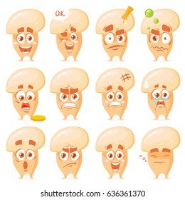 Mushrooms characters set with many different emotions. Vector illustration isolated on white background. Cute, funny and happy mushroom set character. Vegetables vector illustration