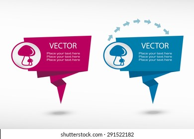 Mushrooms icon on origami paper speech bubble or web banner, prints. Vector illustration
