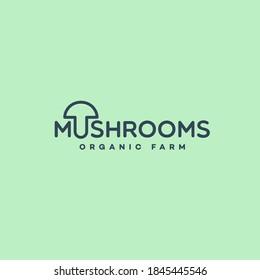 Mushrooms lettering logo design template. Vector illustration.
