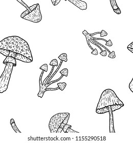 Mushrooms seamless pattern vector vintage illustration amanita fly-agaric toadstool grebe dabchick honey agaric ingredient witch potion poison engraving
