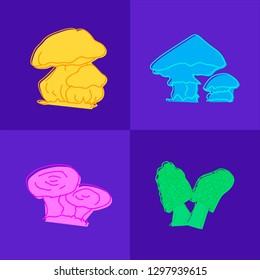 Mushrooms set hand drawn vector illustration. Sketch mushroom drawing. Organic vegetarian product. Great for menu, label, product packaging, recipe, icon. Eps 10