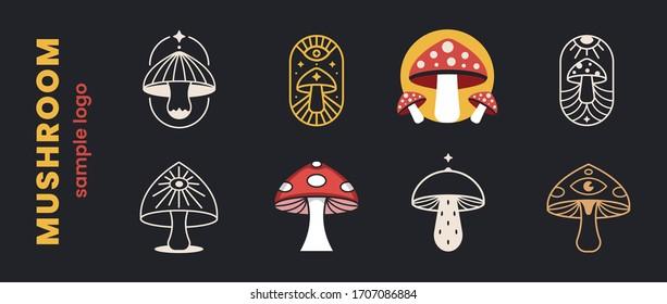 Mushrooms set logo farm organic design. Fungi medicine agriculture symbol design on a black background. Vector illustration.