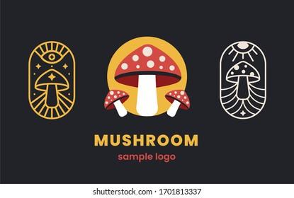 Mushrooms set logo shop design. Fungi medicine agriculture symbol design on a black background. Vector illustration.