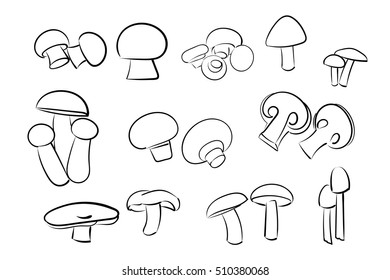 Mushrooms set on a white background. Mushrooms in doodle style.