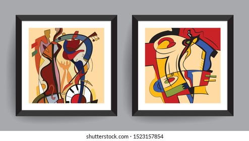 Music abstract art. Abstract painting for Cafe, Studio, Home, Hotel, Restaurant and Office wall.