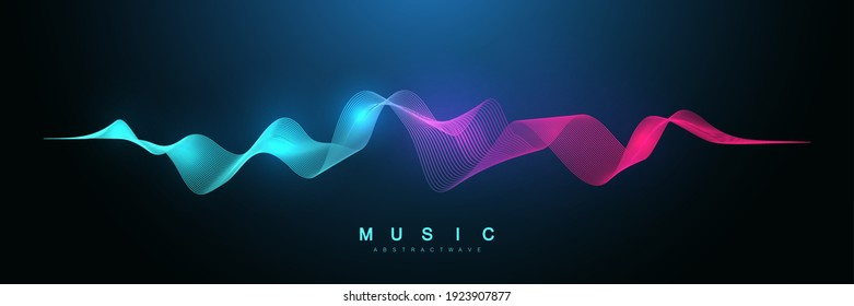 Music abstract background. Music wave poster design. Sound flyer with abstract gradient line waves, vector concept.