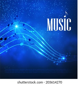 Music abstract blue background. Vector illustration