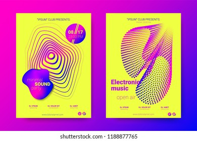 Music Abstract Colorful Poster. Bright Sound Flyer with Distortion of Circles. Trendy Abstract Covers of Electronic Music Event. Modern Vibrant Gradient and Wave Lines. Abstract Vector Illustration.