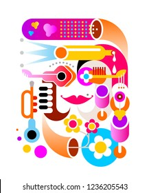 Music abstract vector illustration isolated on a white background.