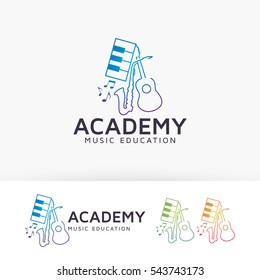 Music Academy, learn, lesson, music, school, band, instrument, piano, guitar, saxophone. Vector logo template