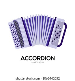 Music accordion vector illustration symbol object. Flat icon style concept design