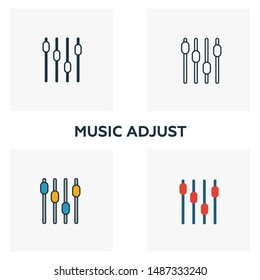 Music Adjust icon set. Four elements in diferent styles from audio buttons icons collection. Creative music adjust icons filled, outline, colored and flat symbols.