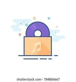 Music album icon in outlined flat color style. Vector illustration.