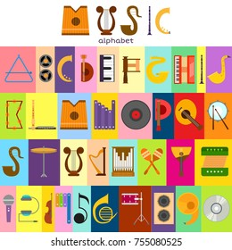 Music alphabet font text symbols musical instrument decorative education notes hand mark calligraphy musician poster vector illustration. Graphic typeset decoration lettering.