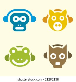 music animals (vector): simple form and concept.