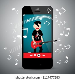Music App on Cellphone. Rock Guitar Player with Notes. Songs Playlist Symbol on Mobile Phone.