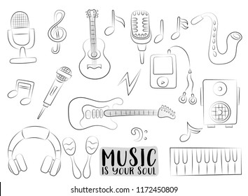 Music art set of icons and objects. Hand drawn doodle cartoon style modern musical trends design concept. Black and white outline coloring page kids game. Monochrome doodle line art vector