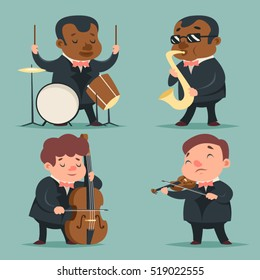 Music Artist Player Concept Character Icons Set Cartoon Template Vector Illustration