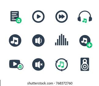 music, audio icons set on white