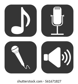 Music and audio icons vector set on gray  buttons