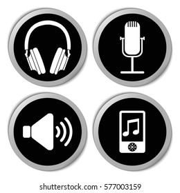 Music and audio icons - vector stickers  set