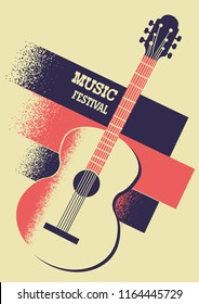 Music background with acoustic guitar and retro decoration for text.Vector music festival illustration