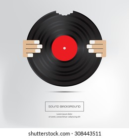 Music background. Bite of musical plate. Isolated.