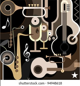 Music Background - color vector illustration. Abstract collage with musical instruments - guitar, sax and trumpet.