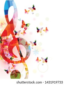 Music background with colorful G-clef and butterflies vector illustration design. Artistic music festival poster, live concert events, party flyer, music notes signs and symbols