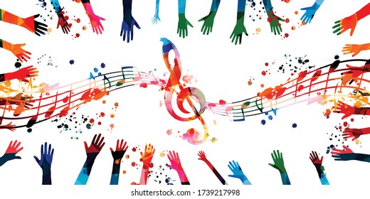 Music background with colorful G-clef, music notes and hands vector illustration design. Artistic music festival poster, live concert events, party flyer, music notes signs and symbols