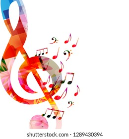 Music background with colorful music notes and G-clef vector illustration design. Artistic music festival poster, live concert events, music notes signs and symbols