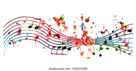 Musikhintergrund mit bunten Musiknoten, Vektorgrafik-Design. Künstlerisches Musikfestival-Poster, Live-Konzertveranstaltungen, Partyflyer, Notenschilder und Symbole