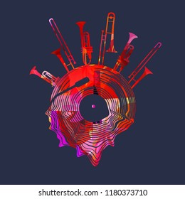 Music background with colorful vinyl record and music instruments vector illustration. Artistic music festival poster, live concert, creative design with lp record, trumpet and trombone