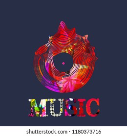 Music background with colorful vinyl record vector illustration. Artistic music festival poster, live concert, creative design with lp record