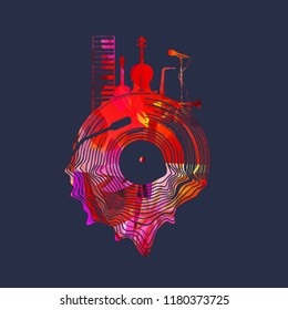 Music background with colorful vinyl record and music instruments vector illustration. Artistic music festival poster, live concert, creative design with lp record