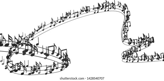 Music background design.Musical writing isolated over white. Vector image of musical notes and musical signs of abstract music sheet